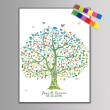 DIY 8 Design Wedding Party Guest Book Canvas Painting with 2pcs Inkpad Decorative Tree Love Bus Fingerprint Signature Painting