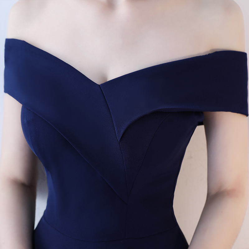 Real Picture Navy Prom Dresses 2018 Sexy Off Shoulder Prom Dress Short Party Boat Neck Simple Elegant Prom Gowns Evening 15