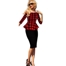 Vestido Womens Peplum Retro Tartan Plaid Patchwork Contrast Tunic Wear to Work Office Party Sheath Casual Dresses