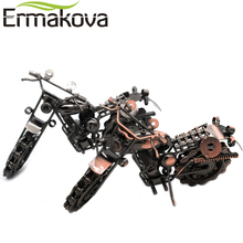 "ERMAKOVA 21cm(8.2"")Vintage Motorcycle Model Retro Motor Figurine Iron Motorbike Prop Handmade Boy Gift Kid Toy Home Office Decor(China)"