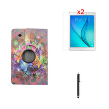 360 Degree Rotating T560 T561 Tablet Flower Print Stand PU Leather Case Cover +2*Clear Film+ Stylus For Samsung Galaxy Tab E 9.6