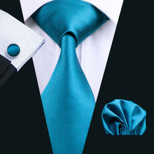 2016 Hot Wedding Tie Hanky Cufflinks Set Blue Solid Pattern Handmade Silk Ties for Mens Business Party Necktie LS-221(China)