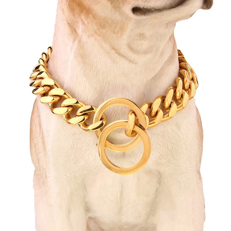 Stainless Steel Dog Necklace Pet Chain Collar Rose Gold Siliver Plated Pet Traction Rope Mirror Polishing Pet Training Walking(China (Mainland))