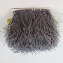 8-10cm gray ostrich feather trim ostrich feathers trimming feather fringe 1 meter/lot dress cloths making craft