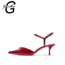 GENSHUO 2017 Sexy Point Toe Patent Leahter High Heels Pumps Shoes Rivets Woman's Red Sandals Heels Shoes Wedding Shoes