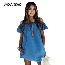 MOARCHO Women dress New Fashion Designer Loose Slash neck Jeans Dresses Summer Casual Sleeveless ladies elegant Denim Dresses(China)