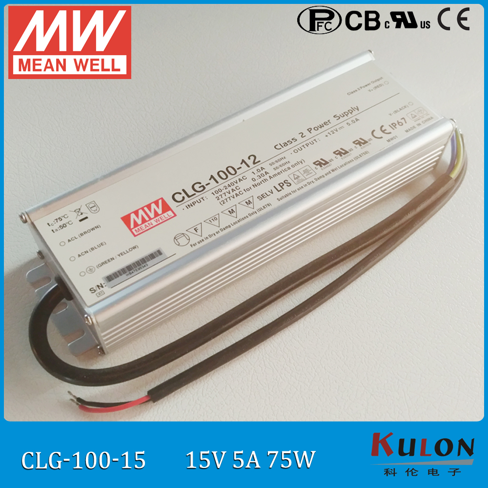 75W 5A 15V led driver Meanwell CLG-100-15 LED power supply IP67 waterproof mean well driver 15V with PFC<br>
