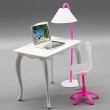 doll furniture desk+lamp+laptop+chair accessories for 1/6 doll girl play doll house random color free shipping(China)