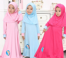 Muslim Girls dress islamic Long dress + Hijab dresses Children clothes kids long 2 piece Sets headdress