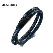 Meaeguet High Quality Microfiber Leather Bracelet & Bangle For Men Office Braided Wristbands with Magnetic Buckle Male Jewelry(China)