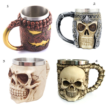 4Types 3D Unique Stainless Steel Mug Cup Liner Creepy Skull Coffee Beer Milk Mug Cup Tankard Novelty Halloween Decoration Gift(China)