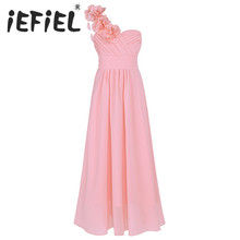iEFiEL 4-14Y Kid Girls Child Flower Chiffon Tulle Lace Dress Party and Wedding Bridesmaid One-shoulder Formal Summer Maxi Dress