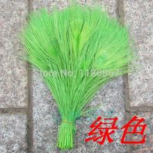 Free shipping lime green dyed peacock feather 100pcs/lot length 25- 30 cm 10-12 inch peacock wedding decorations for sale