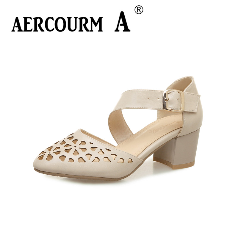 Aercourm A 2018 Women Hollow Sandals Women PU Leather Pumps Ladies Thick Heel Shoes Buckle Solid Color High Heels Shoes BB18-8<br>