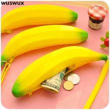 new fashion silicone purse banana pencil case cute kawaii bag children wallet coin purse canvas change purse for girls baby