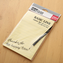 1 Pack 40 Sheets Basic Line Memo Pads Self-Adhesive Sticky Notes 102x152mm Post It Yellow Color Deli 6424