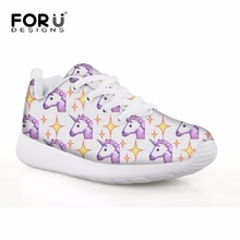 FORUDESIGNS Children's Sneakers Sport Shoes Girls Rainbow Unicorn Printing Kids Football Shoes Lightweight Running Shoe 2018
