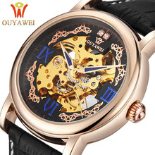 OUYAWEI Royal Diamond Design Black Gold Watch Montre Homme Mens Watches Top Brand Luxury Relogio Male Skeleton Mechanical Watch(China)