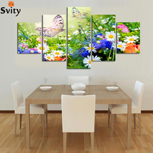 5 panels art HD colorful blooming Flower butterfly painting on canvas picture living room home Decor Oil Painting Unframed A66