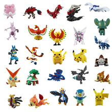 Coolplay 2-3cm 144Pcs/Sets Anime Toy PVC Figures Dolls  Pikachu Anime Pocket Monster Pokemon P Dolls Free gift stickers