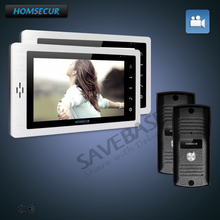 "HOMSECUR 7"" Hands-free Video Door Entry Security Intercom with Touch Button Monitor for Apartment 2V2(China)"