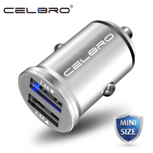 Mini Dual USB Car Charger Adapter 4.8A Metal Car-Charger Mobile Phone Car USB Charger Charge 2 Port 24W for Samsung iPhone Small