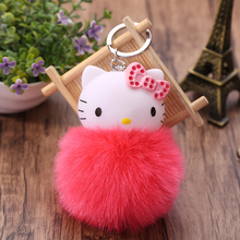 Femme Porte Clef Hello Kitty Keychain Pompom Dolls Key chain Woman Bag Car Charm Pendant Pom Pom llavero KT Cat