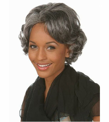 African american short  silver gray Wigs Heat Resistant synthetic hairstyles Wavy grey wig for black old Women Elderly Ladies<br><br>Aliexpress