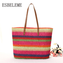 2017 Women Fashion Totes Handmade Straw Knitted Exclusive Design Ladies Striped Shoulder Bags Female Shopping Bag YI118(China)