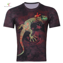 2015 Men's Fashion 3D Animal Creative T-Shirt, Lightning/smoke lion/lizard/water droplets 3d printed short sleeve T Shirt M-4XL
