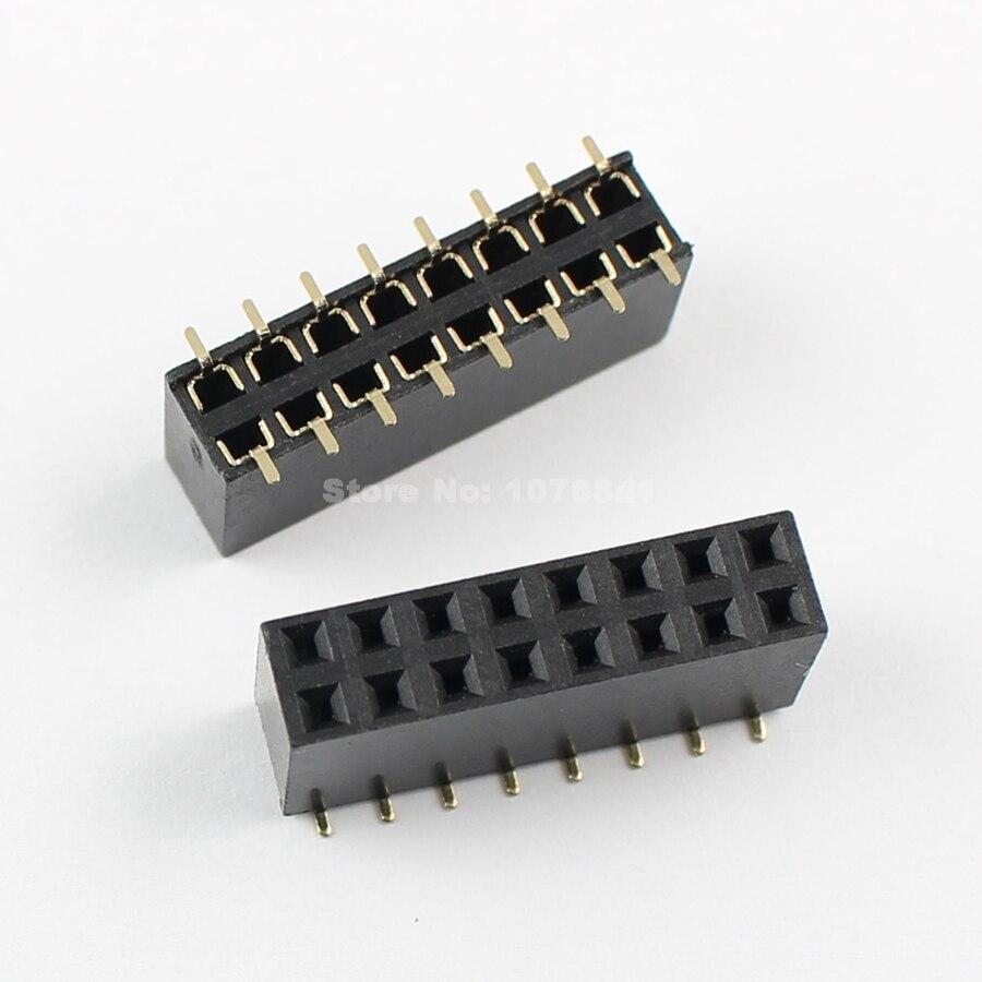 10pcs 2.54mm 2X8 2*8 16Pin Double Row Female Straight Header Pitch Socket Strip