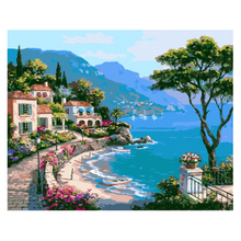 Frameless Picture Painting By Numbers Home Decor DIY Canvas Oil Painting Landscape Mediterranean Sea Pattern Wall Art 40x50cm