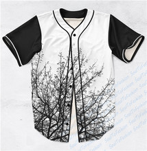 2 Colors Real AMERICAN USA Size Forest Skyline (Black White) Custom made Fashion 3D Sublimation Print Baseball Jersey Plus Size