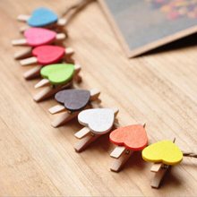 Hot Sale 100 Pcs Mini Wooden Colorful Novelty Love Heart Pegs Photo Paper Clips Wedding Decor Craft For Home Garden Papelaria(China)