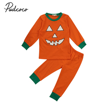 2-7Y Toddler Baby Girls Kids Halloween Clothes Outfits Pumkin Print Long Sleeve Cotton Tops T-Shirt Pants 2Pcs Clothing Sets(China)