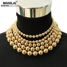 MANILAI Fashion 5 Layered Golden Beaded Chokers Necklaces For Women Statement Jewelry Collar Chunky Choker Maxi Necklace Boho