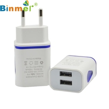 Top Quality Hot Sale LED USB 2 Port Wall Home Travel AC Charger Adapter For S7 EU Plug JUN 30(China)