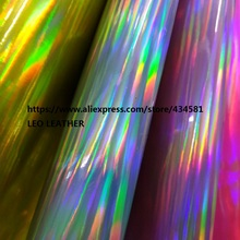 30X134CM  Radium film special fabrics colorful holographic faux PU leather fabric material tela cuero laser leather P1562