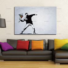 Large HUGE BANKSY There Is Always Hope Abstract Modular Pictures 1 Piece Canvas Painting Unframed Wall Pictures For Living Room(China)