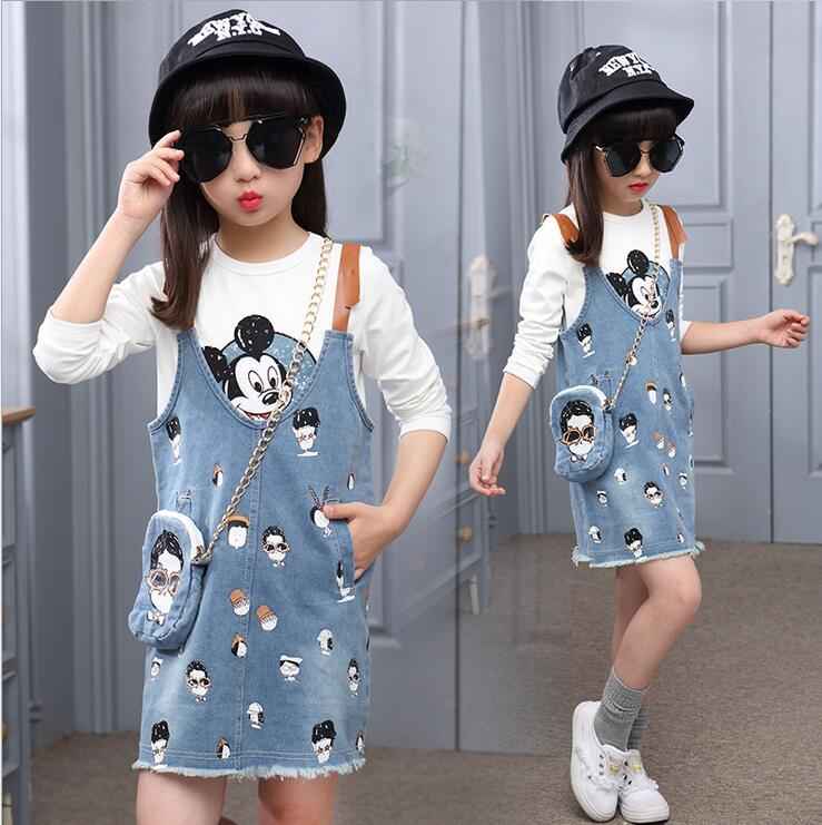 Fashion Denim Baby Clothes Printing Strap Dress Sets Casual Children Clothing Ensemble Fille Kids Overalls Dresses Burr hem<br><br>Aliexpress