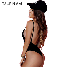 TAUPIN AM Scoop Back Sexy Bodysuit women Jumpers and Rompers Black strap sleeveless cami bodysuit tops jumpsuit shorts playsuit