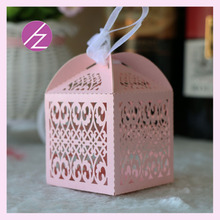 50pcs/lot laser cut pearl paper pink wedding box candy cake bag with free ribbon TH-100(China)