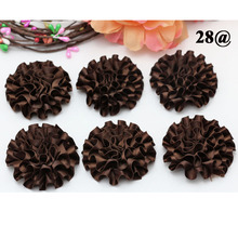 20piece 5cm Dark Brown NEW satin ribbon big Peony Flower Appliques/craft/Wedding decoration DIY Apparel Sewing Fabric Supplies