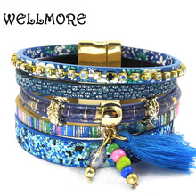 Buy WELLMORE leather bracelet 5 color 3 size women charm bracelets Bohemian bracelets&bangles wholesale jewelry women for $4.69 in AliExpress store