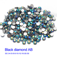 Nail art Rhinestone Black diamond AB Glass stones SS3-SS30 Glue on free shipping