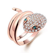 Colorful Rhinestone Snake Design Danger Ross Gold Plating Copper Ring Women Luxury Party Jewelry