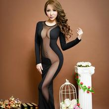 Buy Nightclub Women Sexy Clothing Mesh Splicing Dress Racy Costumes Party Sexy Lingerie Hot Long Sleeve Dresses Fancy Underwear