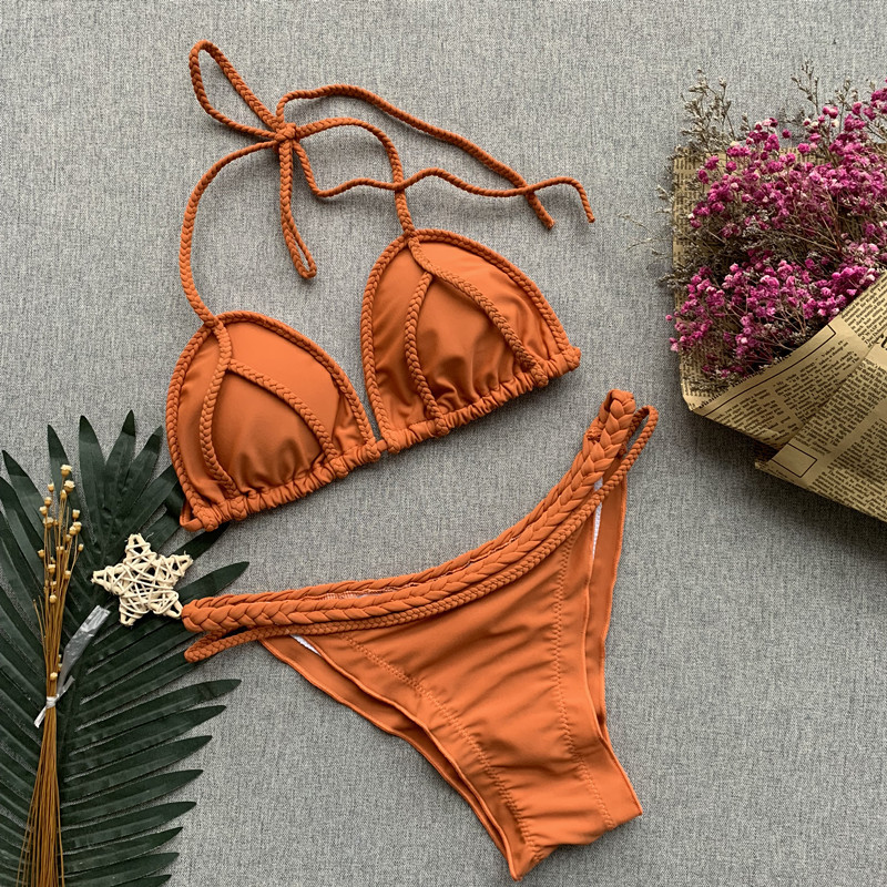 Brown Solid Color Swimsuit 6