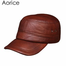 HL081 Men's genuine leather baseball cap brand new winter warm real cow leather caps hats