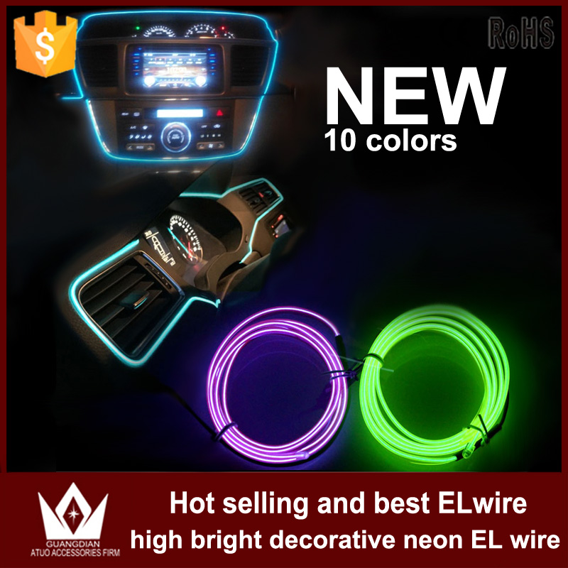 Guang Dian 3M or 4M cool neon round EL Wire Rope Powered Flexible Light Decoration Car Glow With Controller cigarette inverter<br><br>Aliexpress